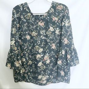 Tops - Floral Navy Blouse